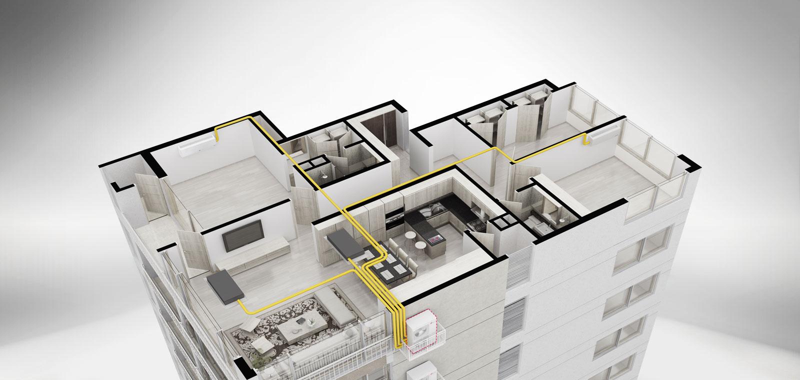 고급 주거공간을 위한  Multi형 시스템에어컨, 올인원1