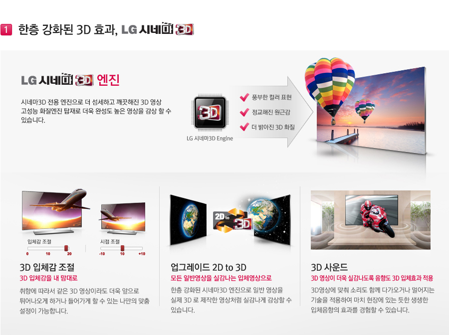 ���� ��ȭ�� 3D ȿ��, LG �ó׸� 3D