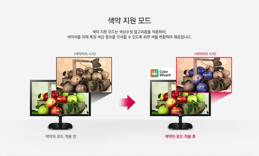 색약 지원 모드 - 색약 지원 모드는 색상수정 알고리즘을 적용하여, 색약자를 위해 특정 색상 범위를 인식할 수 있도록 화면 색을 변환하여 제공합니다.