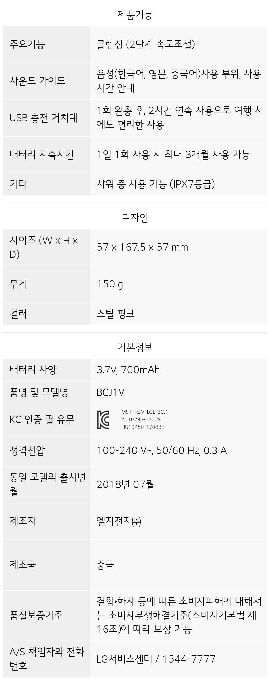 BCJ1V 제품 사양