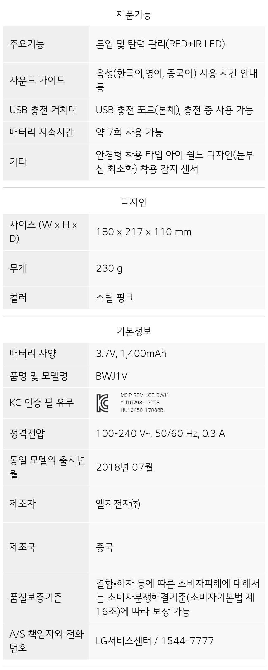 BWJ1V 제품 사양