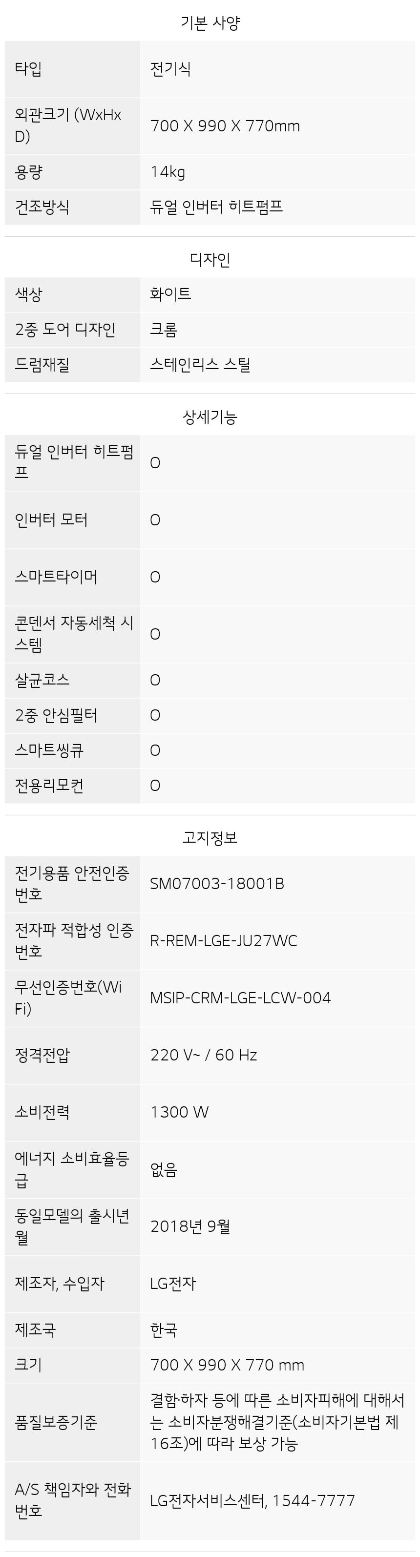 RH14WC 제품 사양