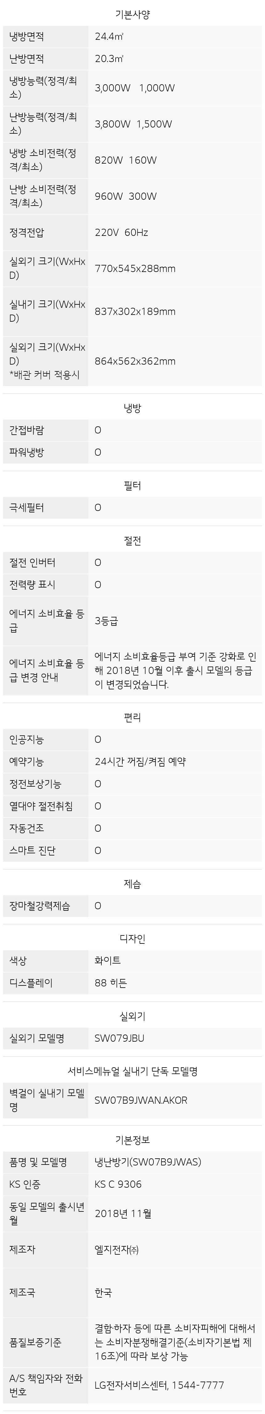 SW07B9JWAS 제품 사양
