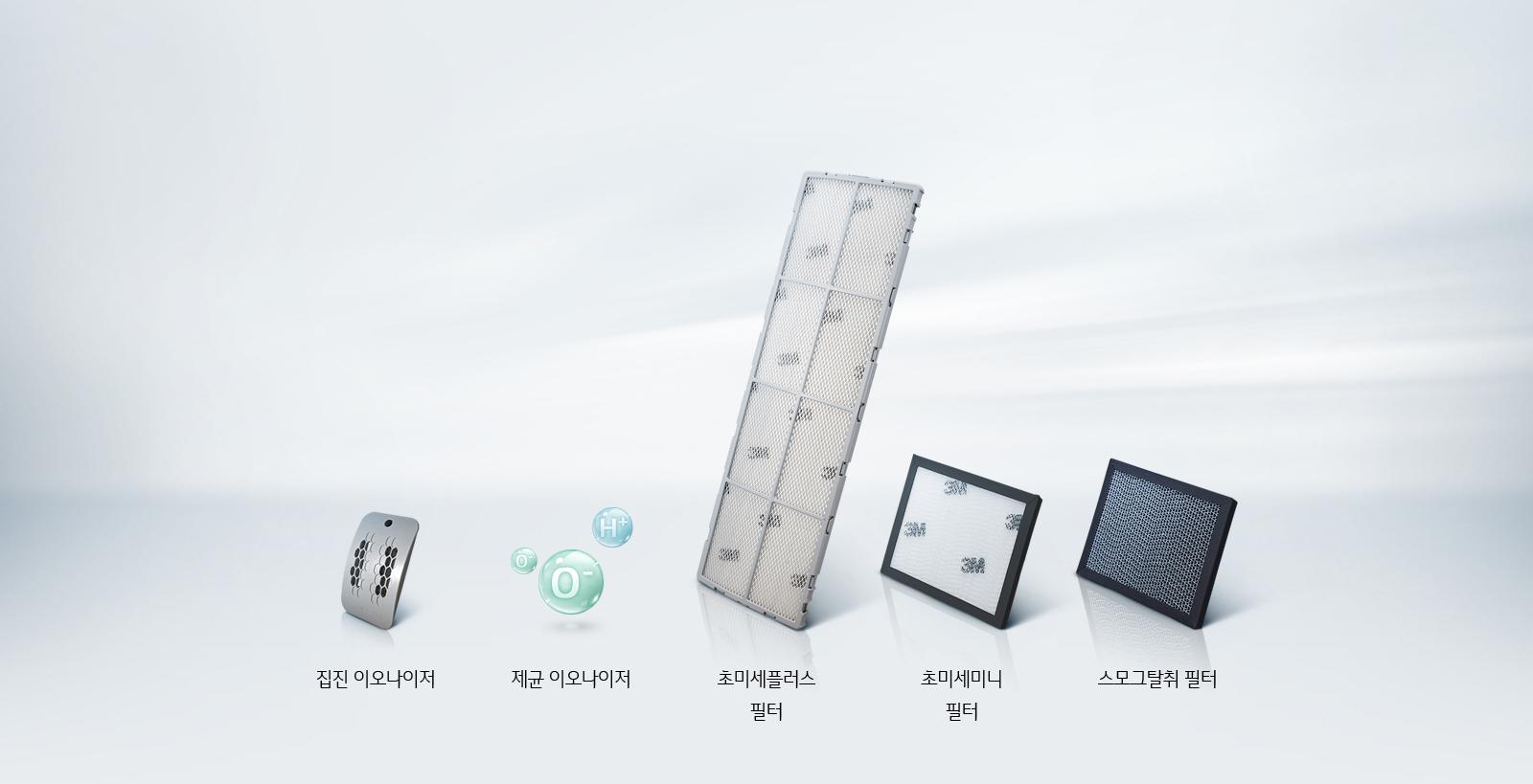365 공기청정 필터 시스템(집진 이오나이저, 제균 이오나이저, 3M™ 초미세플러스 필터, 3M™ 초미세미니 필터, 스모그탈취 필터) 이미지