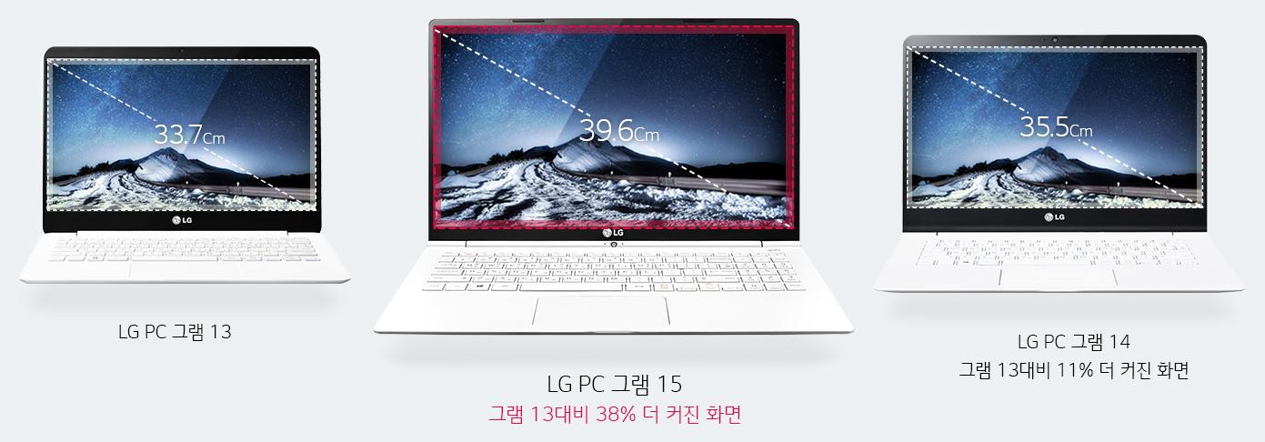 LG PC 그램 13의 이미지, 화면에 사선사이즈 33.7 센티미터가 표기