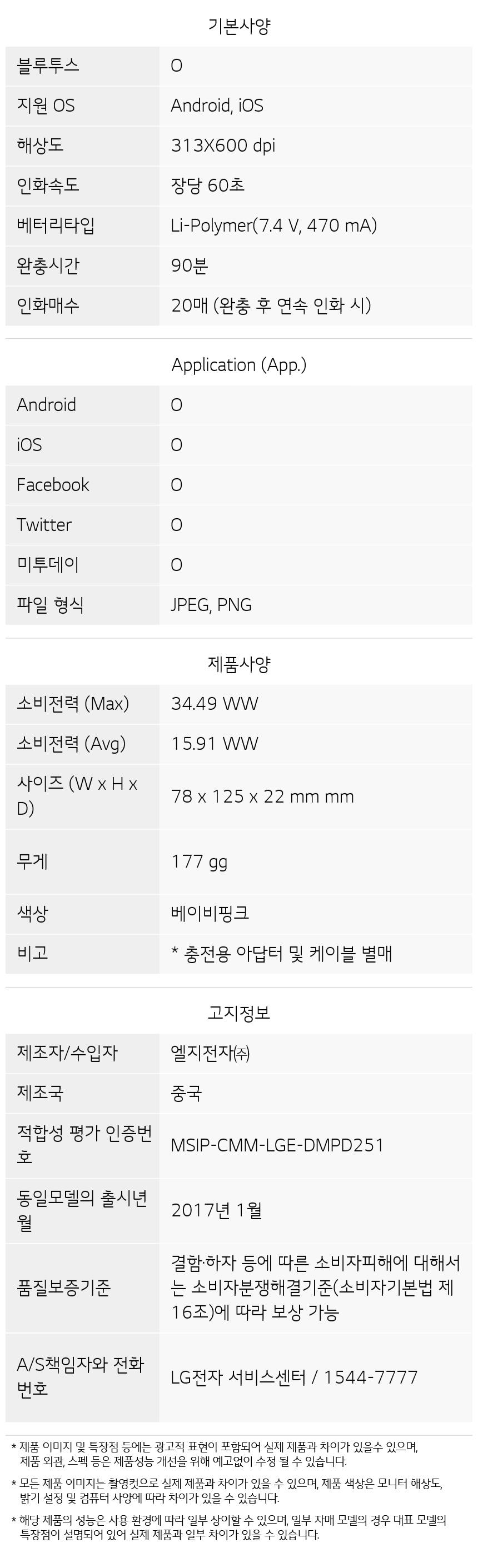 PD261P 제품 사양